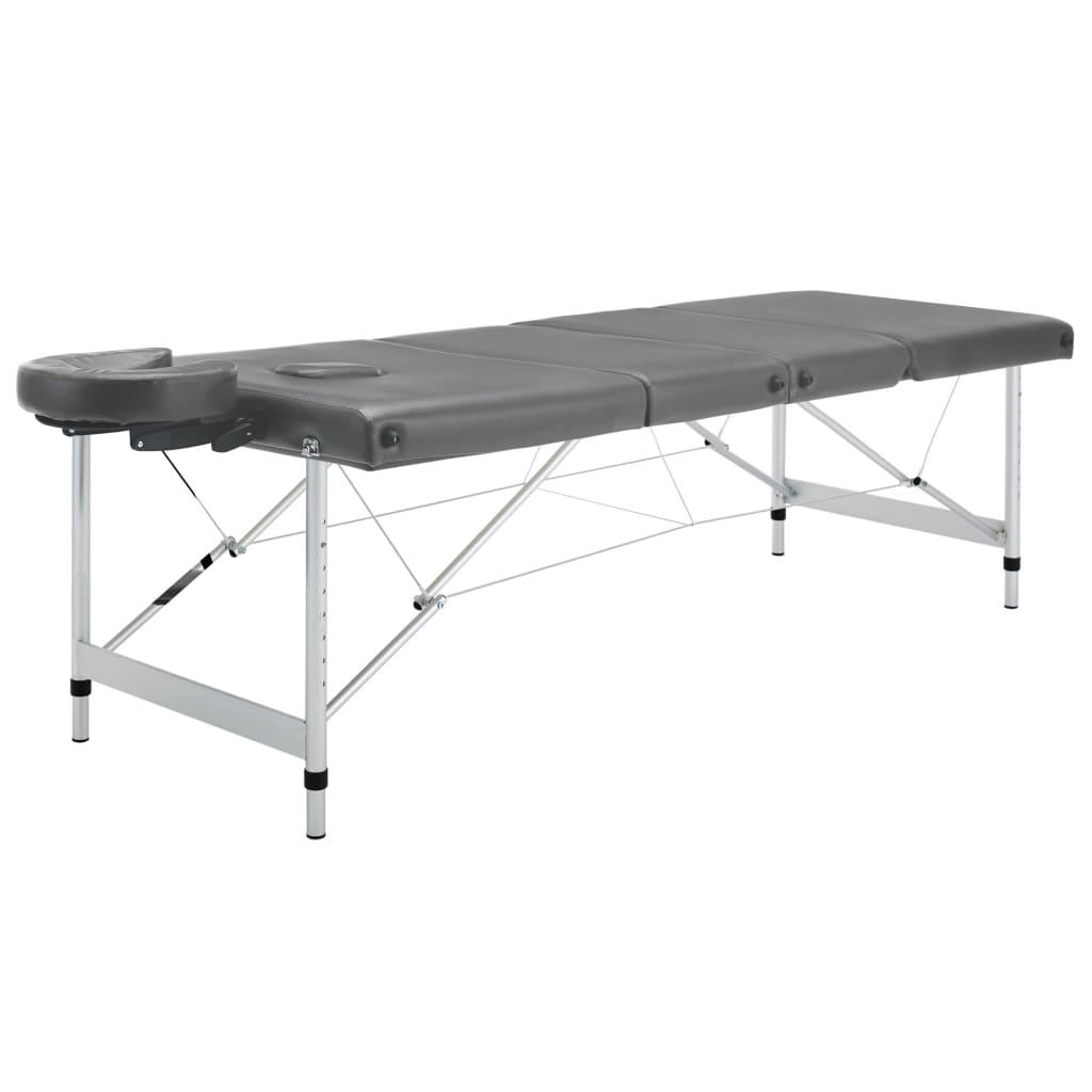 vidaXL Masážní stůl se 4 zónami hliníkový rám antracitový 186 x 68 cm