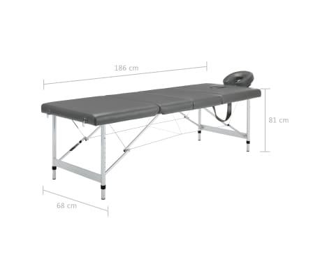 vidaXL Masă de masaj cu 4 zone, cadru aluminiu, antracit, 186 x 68 cm[12/12]