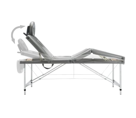 vidaXL Masă de masaj cu 4 zone, cadru aluminiu, antracit, 186 x 68 cm[5/12]