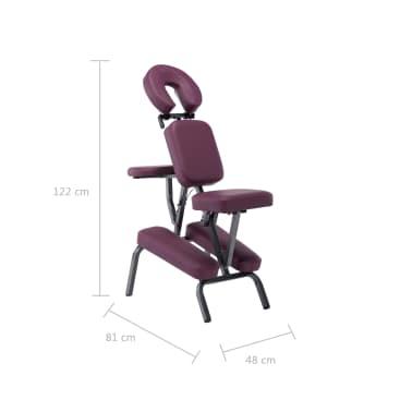 vidaXL Masažinis krėslas, vyšninės sp., 122x81x48cm, dirbtinė oda[9/9]