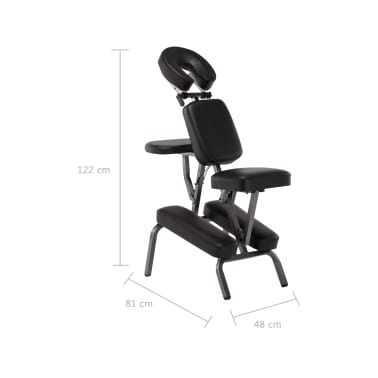 vidaXL Scaun de masaj, negru, 122x81x48 cm, piele ecologică[9/9]
