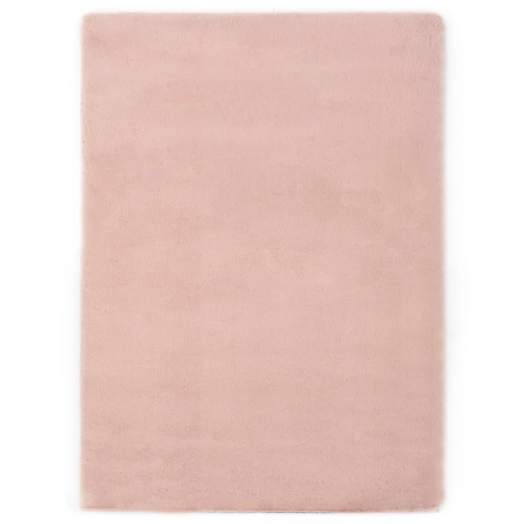 vidaXL Covor, roz învechit, 160 x 230 cm, blană ecologică de iepure imagine vidaxl.ro