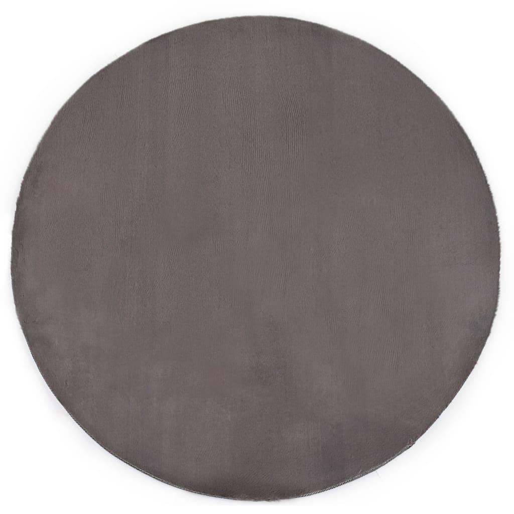 vidaXL gulvtæppe 160 cm kunstig kaninpels mørkegrå