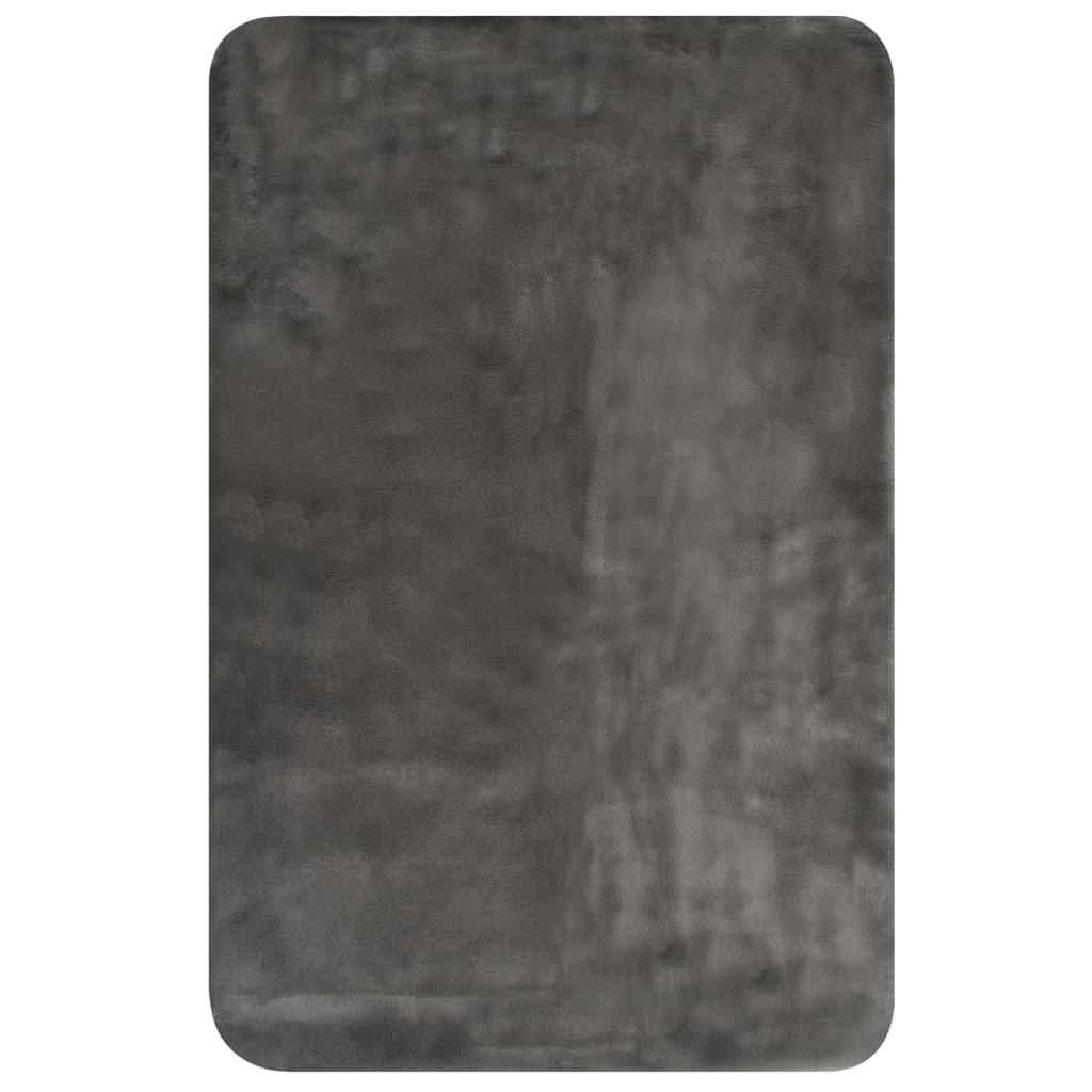 Plaid 100x150 cm kunstkonijnenbont donkergrijs
