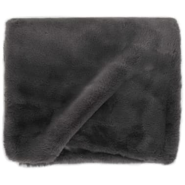 vidaXL Pläd 100x150 cm konstpäls mörkgrå[3/6]