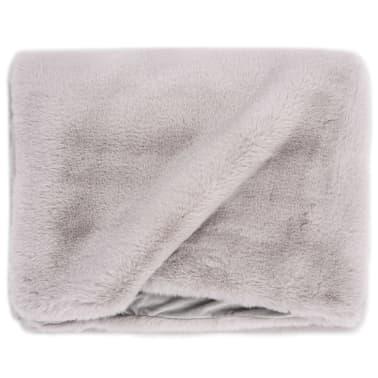 vidaXL Pläd 100x150 cm konstpäls grå[3/6]