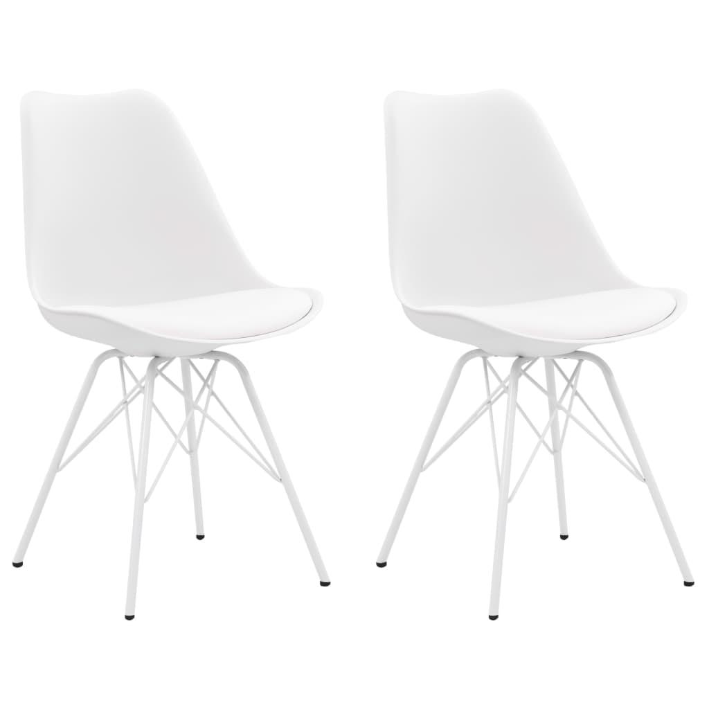999283865 Esszimmerstühle 2 Stk. Weiß Kunstleder
