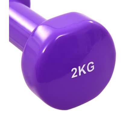vida XL Gantere, 2 buc., 4 kg, fontă, violet[4/5]