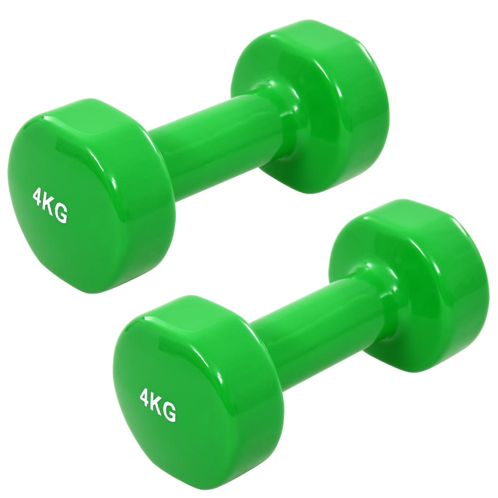 vida XL Gantere, 2 buc., 8 kg, fontă, verde vidaxl.ro