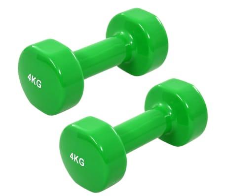 vida XL Gantere, 2 buc., 8 kg, fontă, verde[1/5]