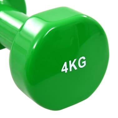 vida XL Gantere, 2 buc., 8 kg, fontă, verde[4/5]