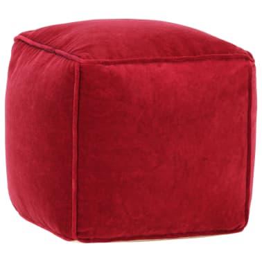 vidaXL Pufas, rubino raudonos spalvos, 40x40x40cm, medvilnės aksomas[1/4]