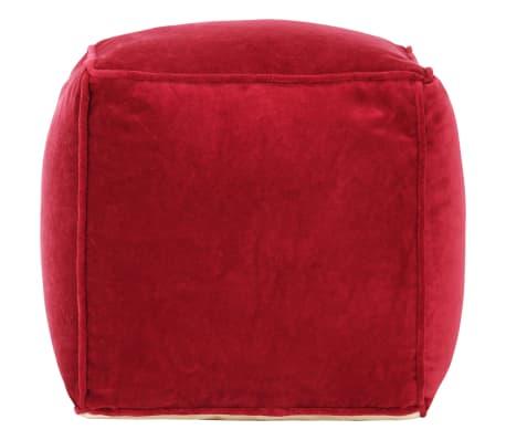 vidaXL Pufas, rubino raudonos spalvos, 40x40x40cm, medvilnės aksomas[2/4]