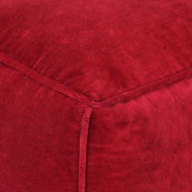 vidaXL Pufas, rubino raudonos spalvos, 40x40x40cm, medvilnės aksomas[3/4]