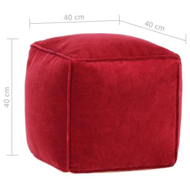 vidaXL Pufas, rubino raudonos spalvos, 40x40x40cm, medvilnės aksomas[4/4]