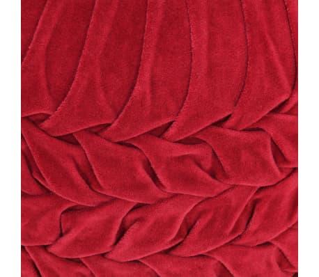 vidaXL Pufas, raudonos sp., 40x30cm, medvilnės aksomas, su klostėmis[3/4]