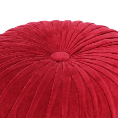 vidaXL Pufas, raudonos sp., 40x30cm, medvilnės aksomas, su klostėmis[2/4]