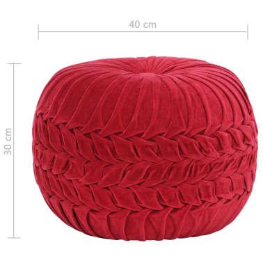 vidaXL Pufas, raudonos sp., 40x30cm, medvilnės aksomas, su klostėmis[4/4]