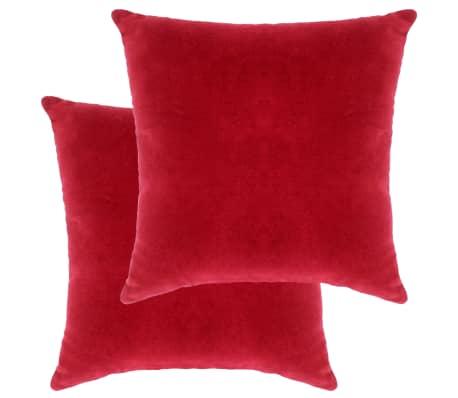 vidaXL Polštáře bavlněný samet 2 ks 45 x 45 cm červené