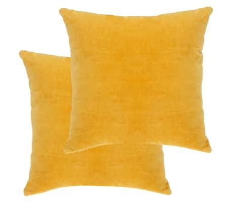 vidaXL Polštáře bavlněný samet 2 ks 45 x 45 cm žluté