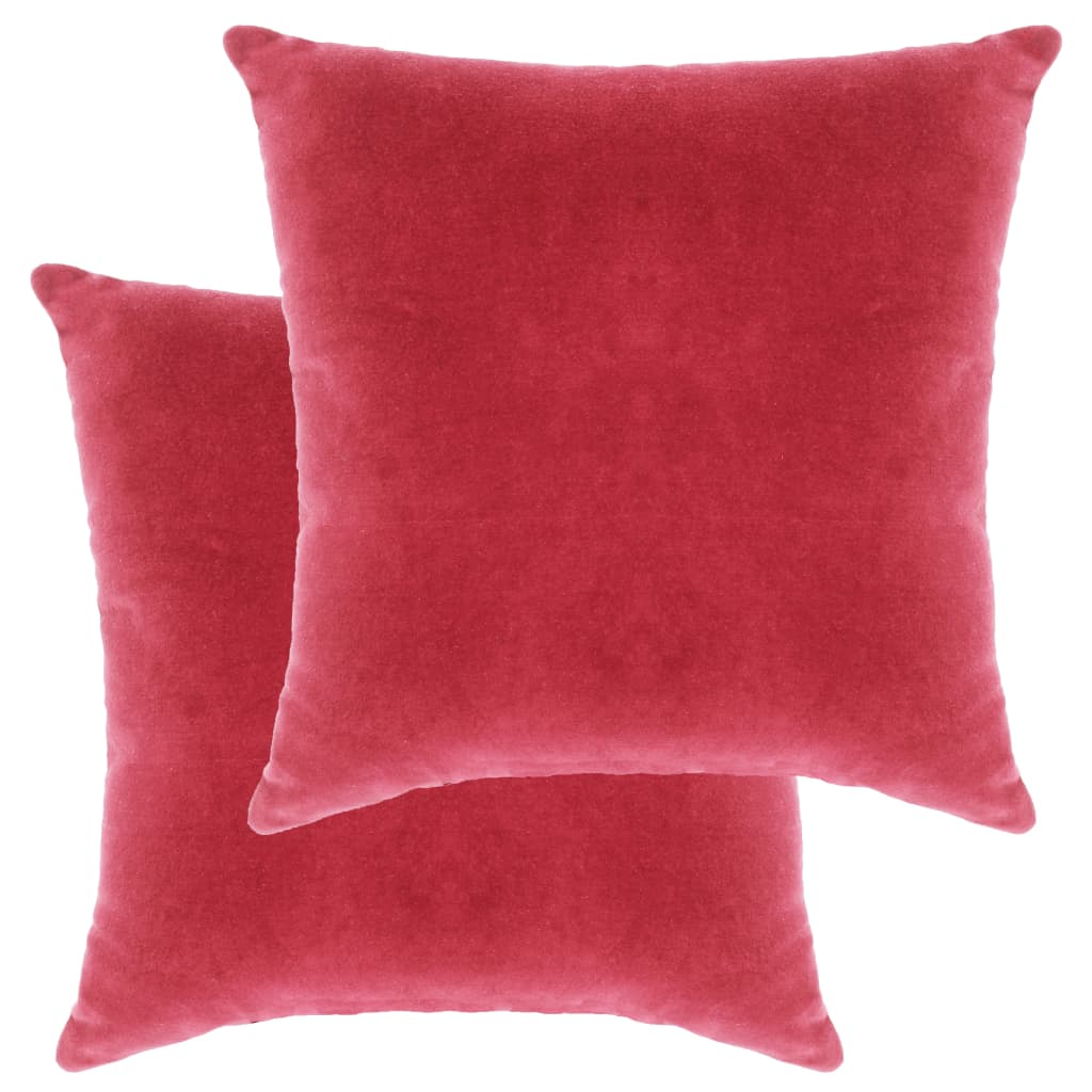 vidaXL Perne decorative, 2 buc., roz, 45 x 45 cm, catifea bumbac poza vidaxl.ro