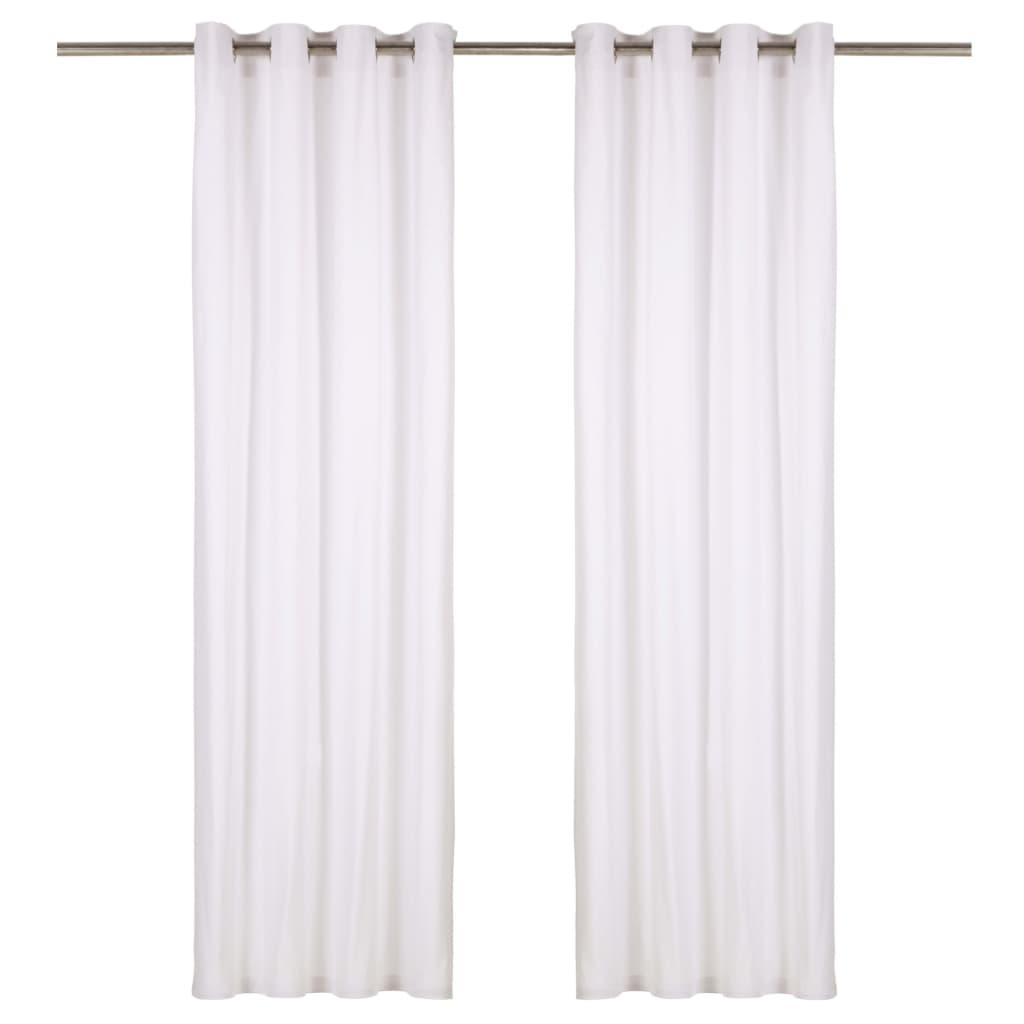 vidaXL gardiner med metalringe 2 stk. 140 x 245 cm bomuld hvid