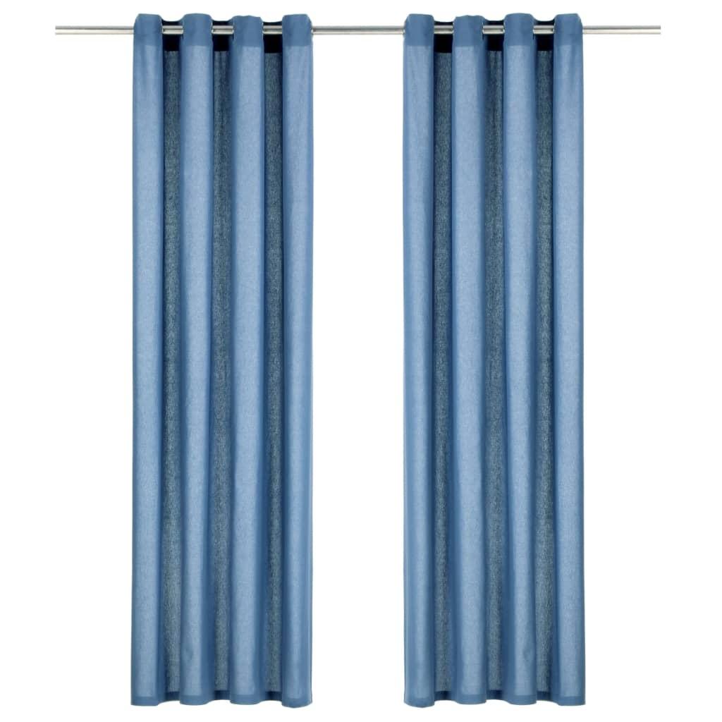 vidaXL Perdele cu inele metalice, 2 buc., albastru, 140x225 cm, bumbac vidaxl.ro
