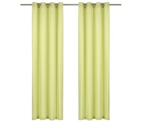 vidaXL Závěsy s kovovými kroužky 2 ks bavlna 140 x 175 cm zelené