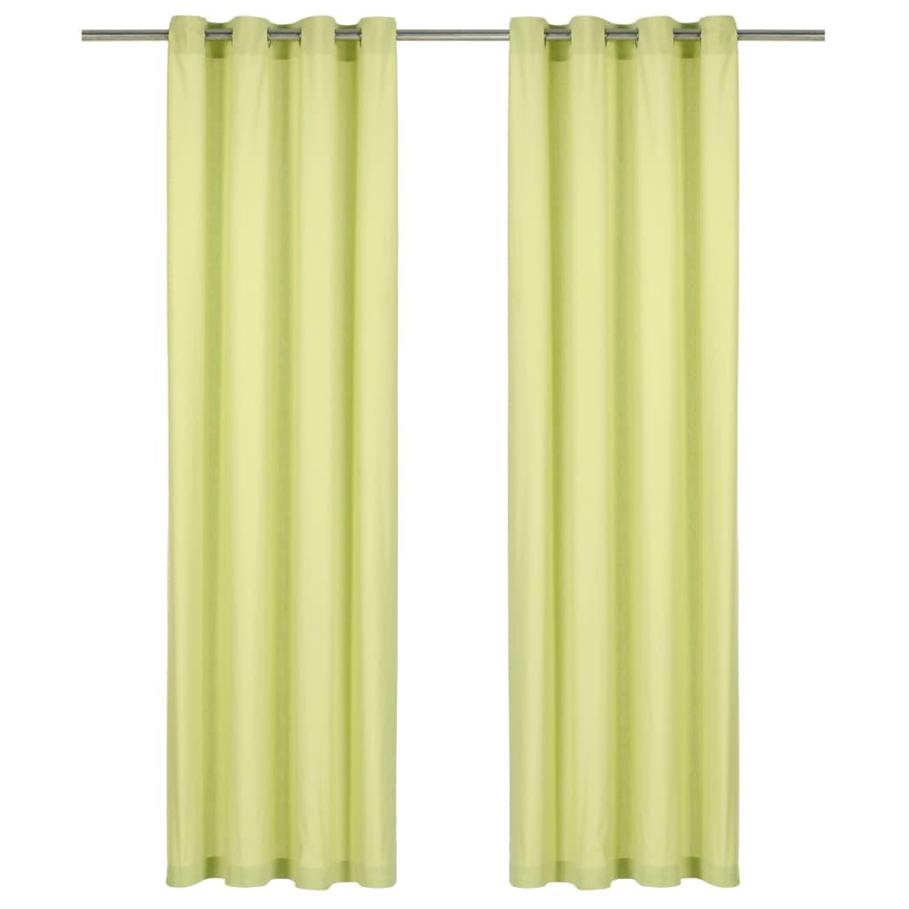 vidaXL Perdele cu inele metalice, 2 buc., verde, 140 x 245 cm, bumbac vidaxl.ro