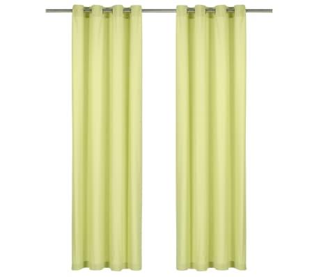 vidaXL kardinad metallrõngastega 2 tk puuvill 140 x 245 cm roheline