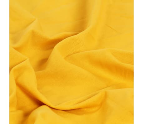 vidaXL Perdele cu inele metalice, 2 buc., galben, 140 x 225 cm, bumbac[4/4]