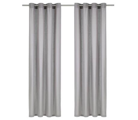 vidaXL aizkari ar metāla riņķiem, 2 gab., 140x245 cm, kokvilna, pelēki