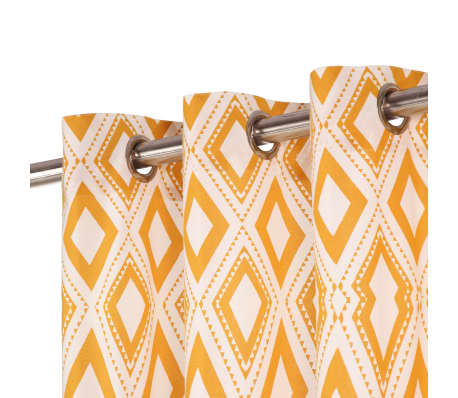 vidaXL Perdele cu inele metalice 2 buc pătrat galben 140x245 cm bumbac[2/4]
