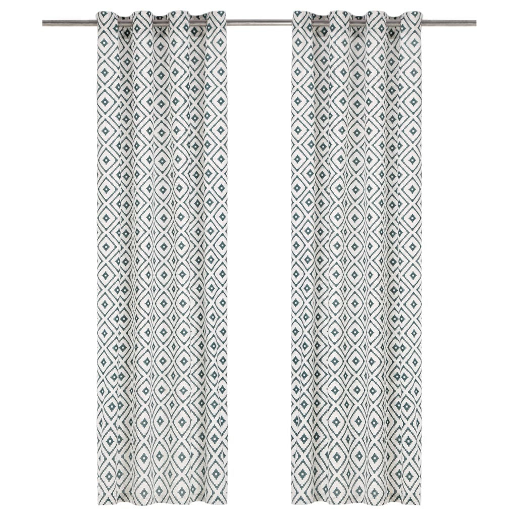 vidaXL Perdele cu inele metalice, 2 buc., verde, 140 x 225 cm, bumbac poza vidaxl.ro
