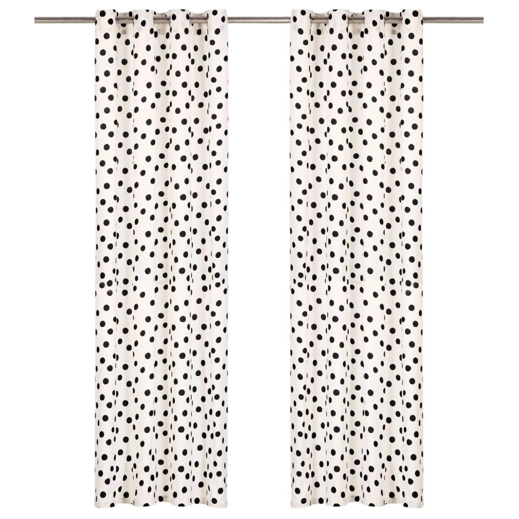 vidaXL Perdele cu inele metalice, 2 buc, alb&negru, 140x225 cm, bumbac vidaxl.ro