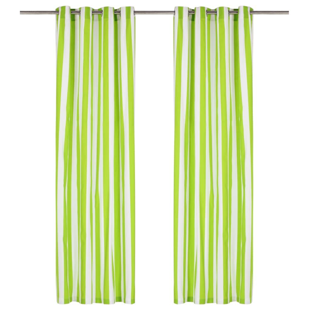 vidaXL Perdele cu inele metalice 2 buc. verde 140x175cm țesătură dungi vidaxl.ro