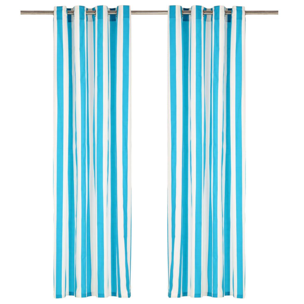 Závěsy s kovovými kroužky 2 ks textil 140 x 175 cm modré pruhy