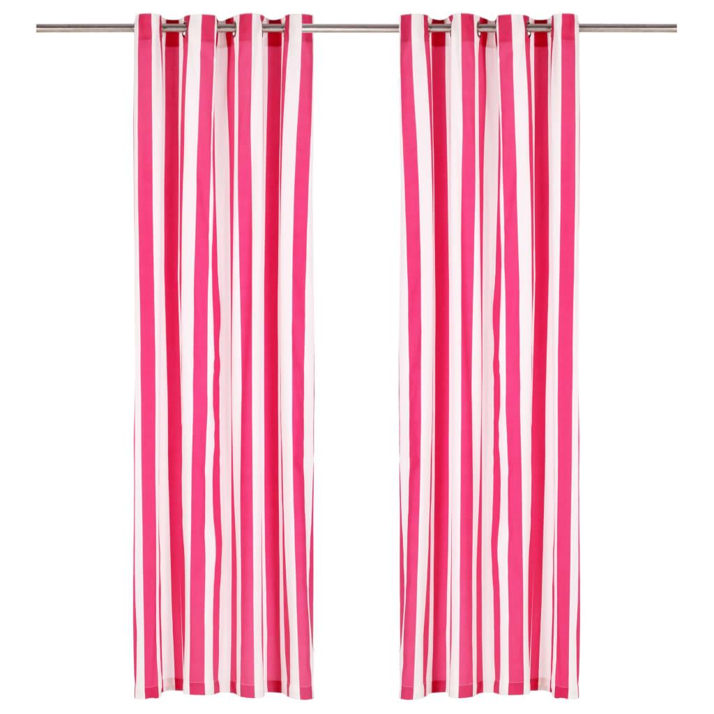 Závěsy s kovovými kroužky 2 ks textil 140 x 175 cm růžové pruhy