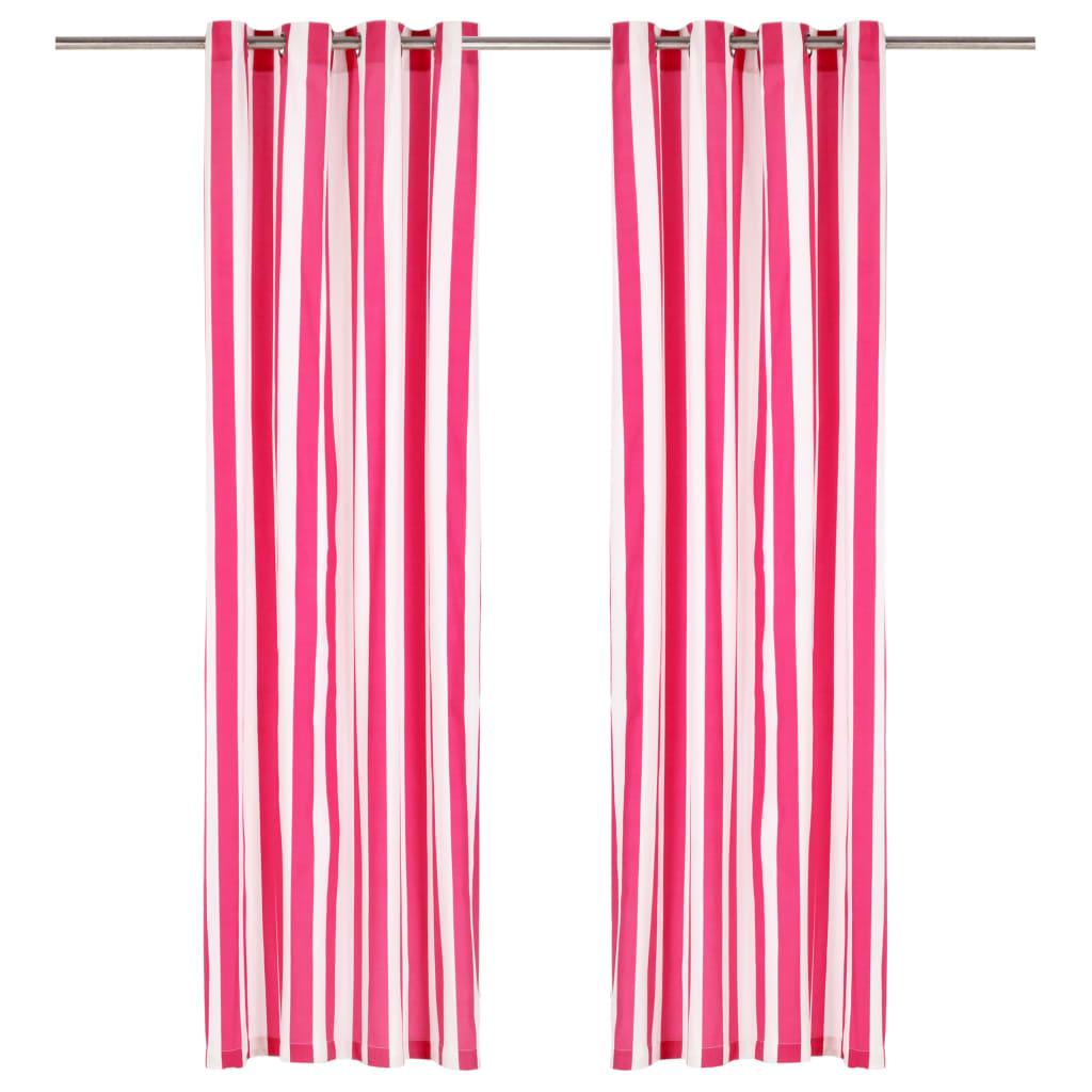 vidaXL Perdele cu inele metalice 2 buc. roz 140x225 cm textil dungi vidaxl.ro