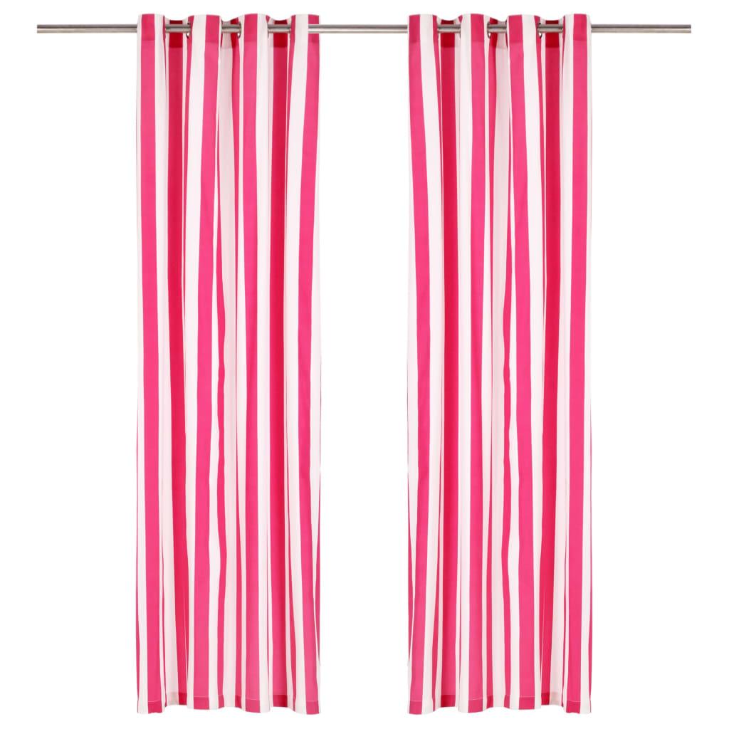 vidaXL Perdele cu inele metalice, 2 buc, dungi roz, 140x245 cm, textil imagine vidaxl.ro