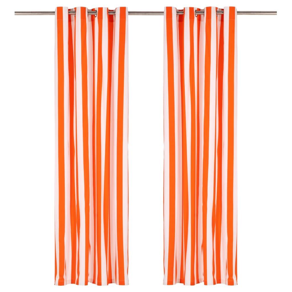 Závěsy s kovovými kroužky 2 ks textil 140x175 cm oranžové pruhy