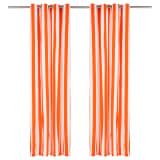 vidaXL Perdele cu inele metalice 2 buc. portocaliu 140x175 cm textil