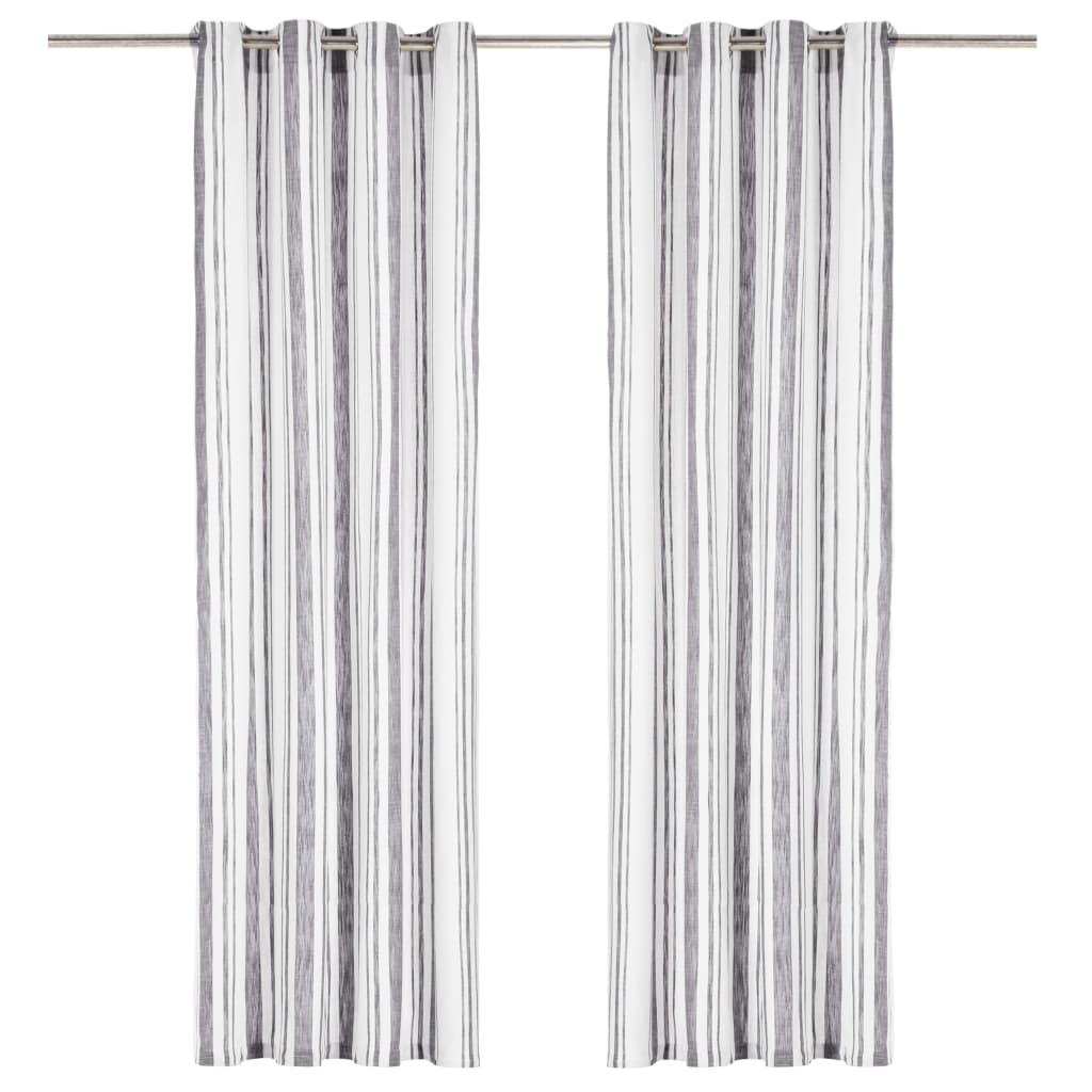vidaXL aizkari ar metāla riņķiem, 2 gab., 140×245 cm, antracītpelēki