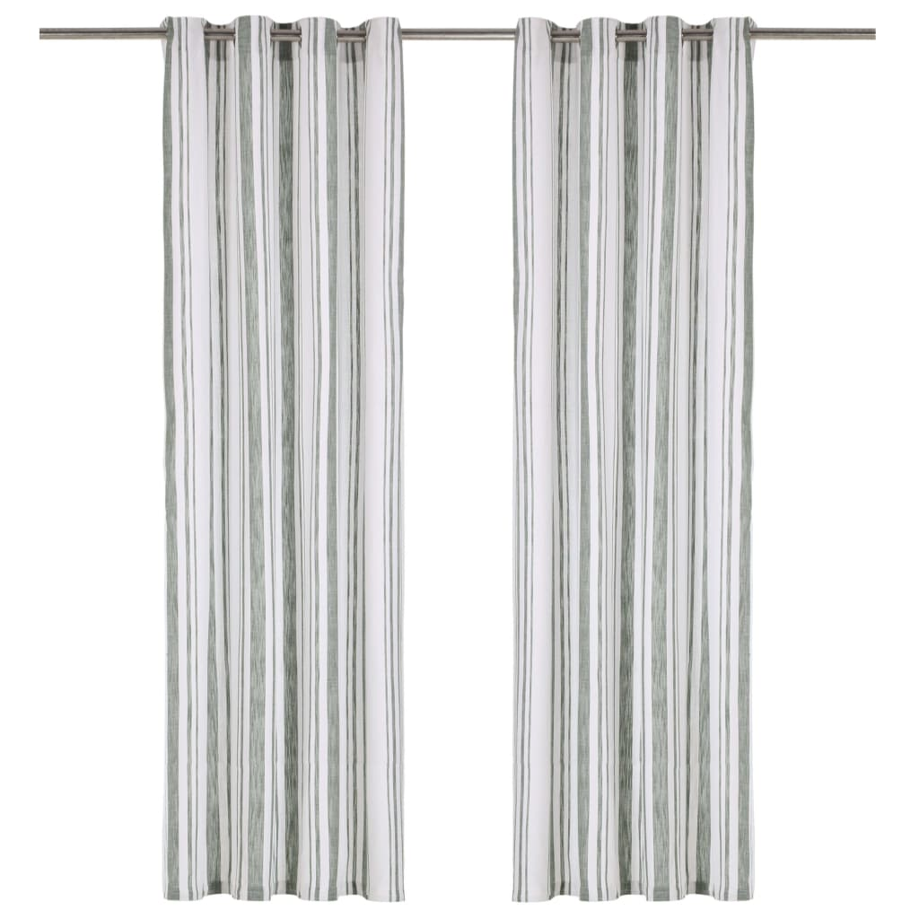 vidaXL Perdele cu inele metalice, 2 buc., verde, 140 x 175 cm, bumbac vidaxl.ro