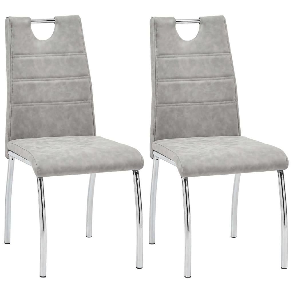 vidaXL Καρέκλες Τραπεζαρίας 2 τεμ. Ανοιχτό Γκρι από Συνθετικό Δέρμα