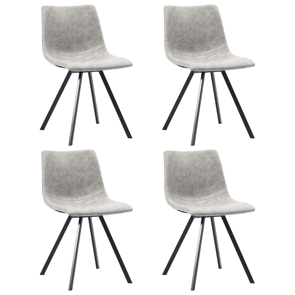 vidaXL Blagovaonske stolice od umjetne kože 4 kom svjetlosive