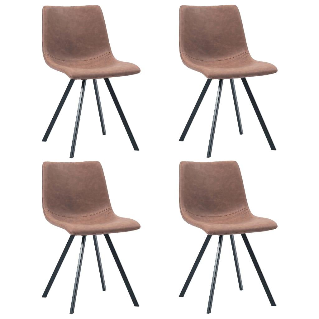vidaXL Krzesła jadalniane, 4 szt., średni brąz, sztuczna skóra