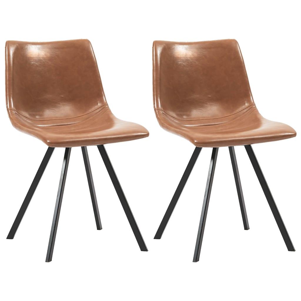 vidaXL Esszimmerstühle 2 Stk. Cognacfarben Kunstleder
