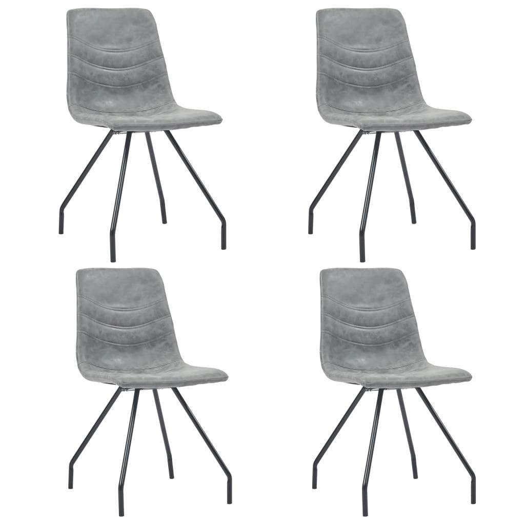 99281492 Esszimmerstühle 4 Stk. Dunkelgrau Kunstleder
