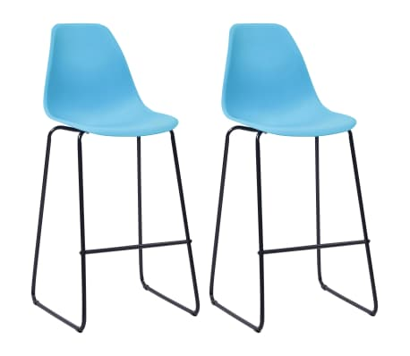vidaXL Bar Chairs 2 pcs Blue Plastic
